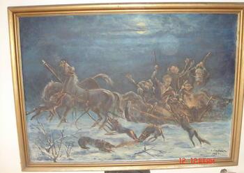 duży obraz olejny malowany na płótnie napad wilków na sanie