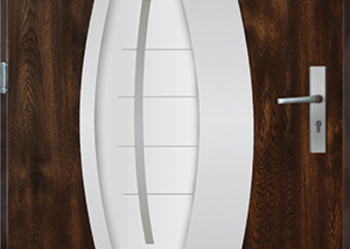 Drzwi stalowe zewnętrzne model Praga w kolorze złoty dąb