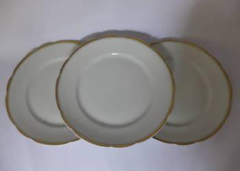 Zestaw 3 płaskich porcelanowych talerzy Ćmielów 283