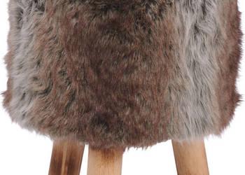 Stołek taboret drewniany futrzany 40 cm