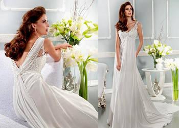 Suknia ślubna elegancki tren koronka 36 S, 38 M