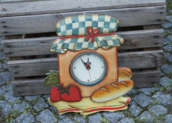 Drewniany zegar kuchenny do kuchni
