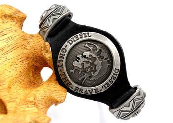 Skórzana opaska na ręke markowa  DIESEL skórzana bransoletka