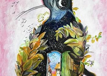 Akryl na płótnie, obraz ''Kot jesienny'' artystki A.Laube
