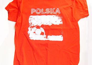 Czerwona koszulka kibica rozmiar L,t-shirt polska piłka nożn