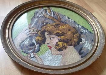 Stary Obraz Haftowany Dziewczyna z Koniem ANTYK
