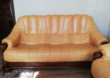 Wypoczynek skórzany, fotele, sofa, skóra, stelaż dąb