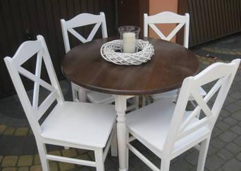 Komplet stół okrągły 90 noga toczona i 4 krzesła PROWANSALSK
