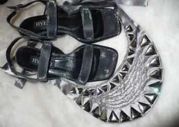 22e809ec nowe sandały słupek Ryłko szare srebrne 37,5 Szczurowa - Sprzedajemy.pl