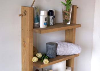 Półka łazienkowa na linie z drewna