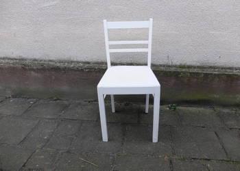 Stare drewniane kuchenne krzesło malowane na biało 354