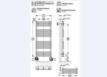 NOWY grzejnik drabinkowy  COS-STAN 110/75 - 738W ; dł. 113,5