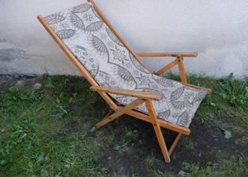 Drewniany leżak z lat 60-tych ogrodowy lub plażowy 341