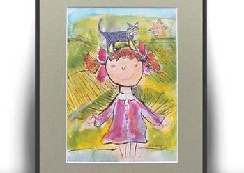 ręcznie malowny obrazek dla dzieci,do pokoju dziewczynki