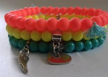 bransoletka na gumce zestaw kolorowe z zawieszkami