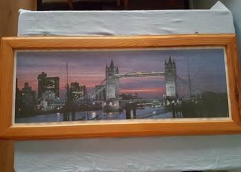 Obraz TOWER BRIDGE duży drewniana rama, z puzzli, oprawiony na sprzedaż  Złotniki