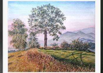 Obraz akwarelowy, pejzaż, góry, akwarela, widok, drzewa