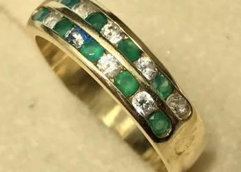 Złoty pierścionek 14K SZMARAGDY i DIAMENTY 0.1ct
