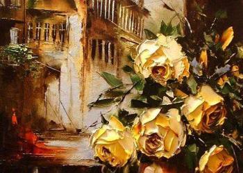 W oknie   - Obraz olejny ,50x40 szpachla róże