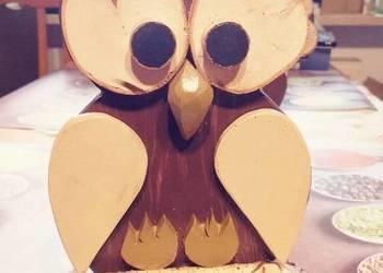 Sowa rękodzieło handmade drewno figurka