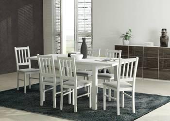Biały stół 80/140/180 z 6 krzesłami--Okazja!