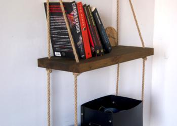Półka podwójna na linach, na książki, półeczka