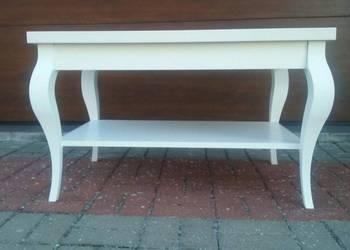 Stolik prowansalski, biały, szary, nogi drewniane, vintage