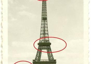 Stara fotografia Pamiątka z Paryża 1945 rok Wieża Eiflla