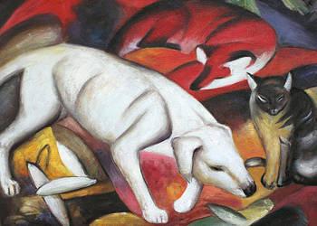 Obraz olejny Pies, lis i kot - Franz Marc Ręcznie malowany