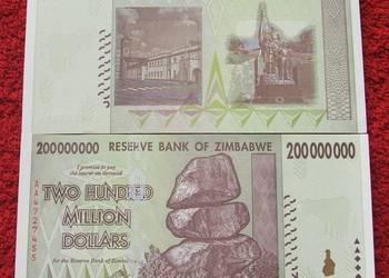 ZIMBABWE 200 MILIONÓW DOLARÓW Kolekcjonerski Banknot UNC