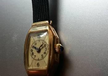 Damski zegarek pozłacany Alpina vintage 20 mik grawer szafir