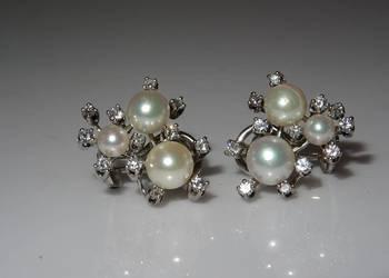 Złote kolczyki pereły i diamenty