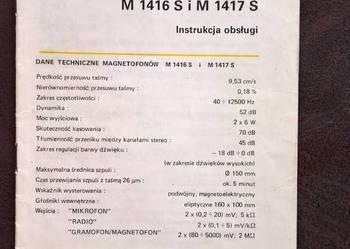 Instrukcja Obsługi Magnetofonu M 1416 S, M1417 S Unitra
