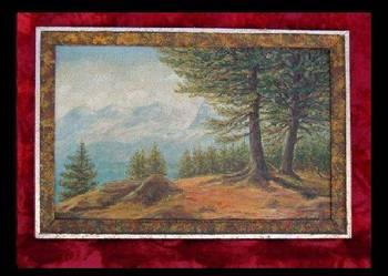 Najładniejszy obraz na płótnie pejzarz 67cmx47cm Olej