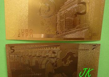 ZŁOTE BANKNOTY 5-10 20-50-100-200-500 EURO Jan Paweł II GOLD