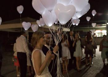 Świecące balony ledowe z helem serca i okragłae