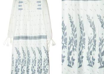 6b78d569 Zara długa biała sukienka boho z niebieskim nadrukiem r. L