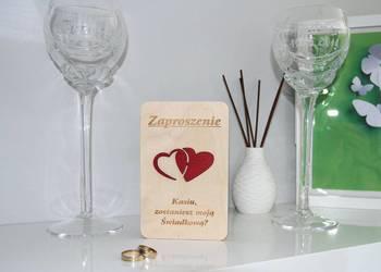 Zaproszenia DLA ŚWIADKÓW z drewnianą okładką E12