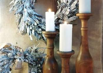 Świecznik drewniany ręcznie toczony rękodzieło na prezent