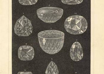 DiAMENTY, KRYSZTAŁY, MINERAŁY oryginalne XIX w. grafiki