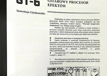 Instrukcja do procesora BOSS GT-6 POLSKA