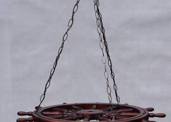 Lampa, zyrandol, koło sterowe, kolo drewniane, prezent