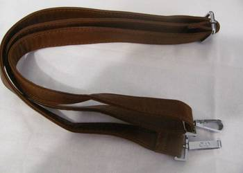 pasek do torebki brązowy czekoladowy srebrne karabińczyki, używany na sprzedaż  Zamość