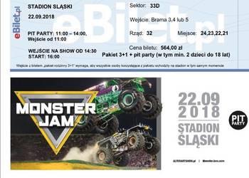 Bilet na Monster truck - dla 4 os stadion śląski