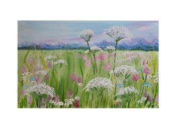 pastelowa łąka 2, obraz ręcznie malowany