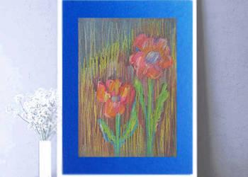 kwiaty obrazek do pokoju,dwa kwiatki rysunek,kolorowy szkic