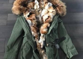 Przepiękna zimowa damska długa Parka khaki obszyta lisem M