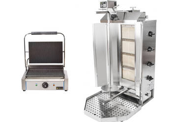 Zestaw do kebaba opiekacz gazowy + grill kontaktowy