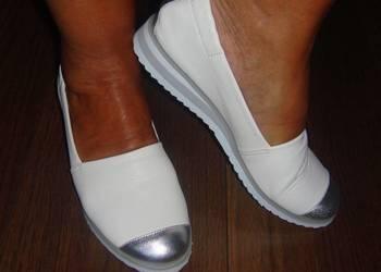 Gianmarko nowe roz 37 baletki białe z dodatkiem srebra