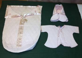 Becik i ubranko DO CHRZTU jedwab - amerykański, z lat 50 XXw